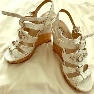 ☀️ White & Silver Guess Platform Sandals